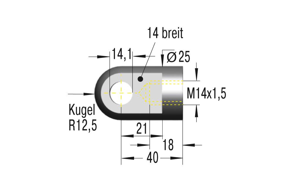 Gelenkauge M14x1,5 ***maximale Belastung 10000N***
