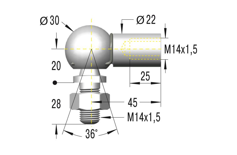 Winkelgelenk M14 in Edelstahl komplett in V2A