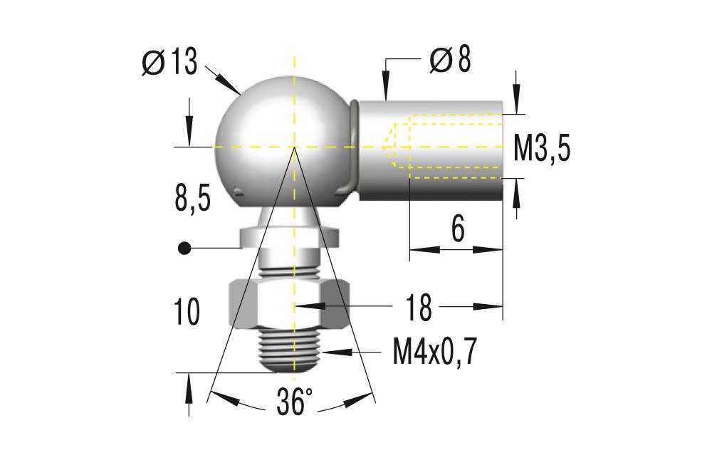 Winkelgelenk M3,5 ***maximale Belastung 225N***