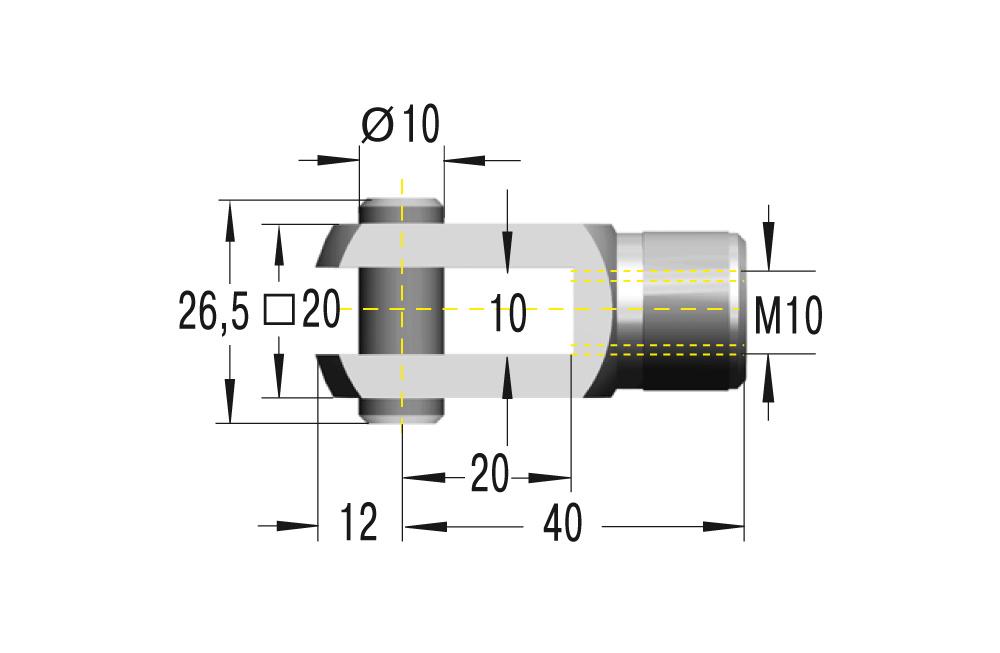Gabelkopf M10 in Edelstahl komplett in V4A