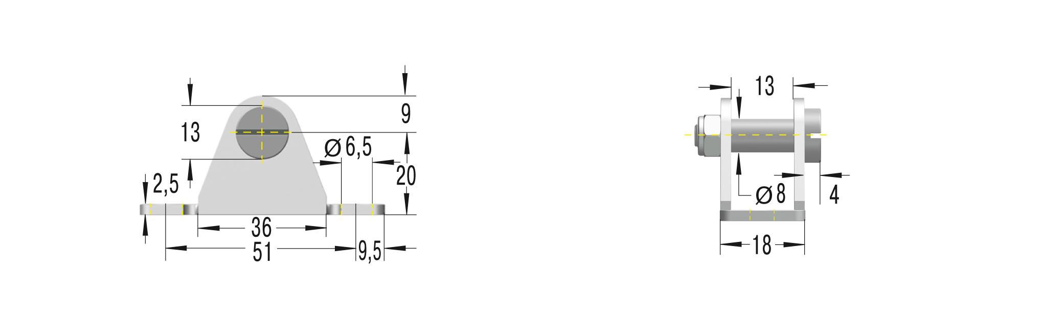 Beschlag für GS/GZ-28,HBS-35 **maximale Belastung 1800N**