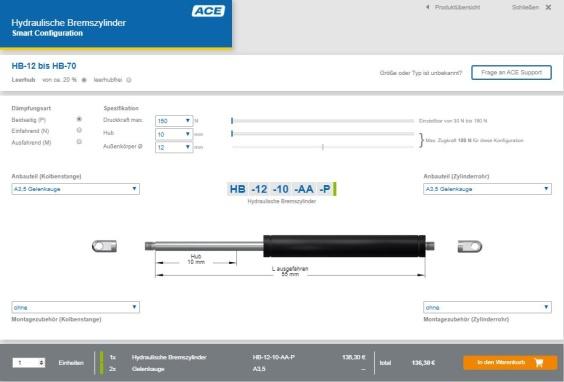 Unter www.ace-ace.de/de/berechnungen/bremszylinder-konfigurator.html können Anwender nun rund um die Uhr ACE Ölbremsen und hydraulische Bremszylinder online konfigurieren und im ACE Online-Shop bestellen