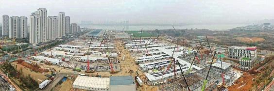 Wuhan Krankenhausbauten waehrend Pandemie