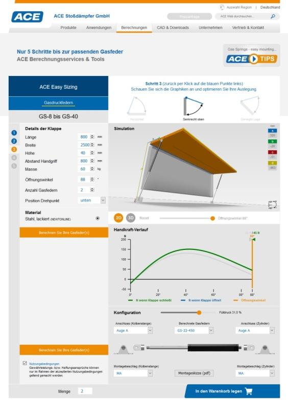 ACE Gasfeder Berechnungs-Tool